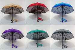 Женский зонт полуавтомат капли 3D и узором изнутри 588 от фирмы Mario.