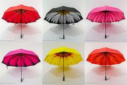 Однотонный зонтик полуавтомат с цветком изнутри и двойной тканью 144.