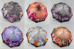 Женский складной зонтик UNIVERSAL полуавтомат сатин flowers 611
