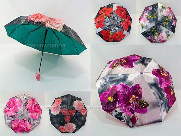 Складной женский зонтик полуавтомат с двойной тканью от фирмы Fiaba 972