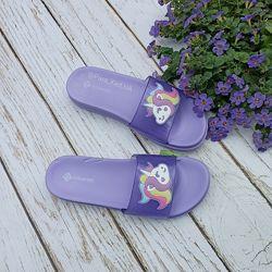 Детские шлепанцы с единорожками ТМ Calypso. Два цвета. 30-35 размеры