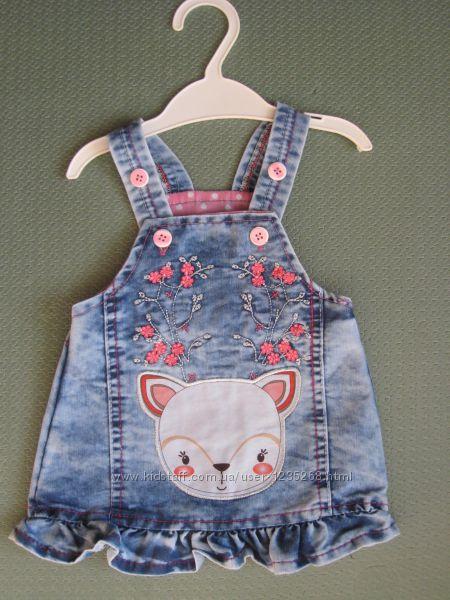Детский джинсовый сарафан Оленёнок для девочки Beebaby Бибеби