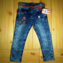 Детские джинсы для девочки рр. 98-122 Цветы Beebaby Бибеби