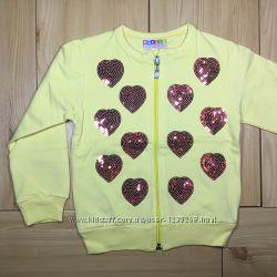 Кофта на молнии для девочки Сердечки рр. 86-104 2 цвета Beebaby Бибеби