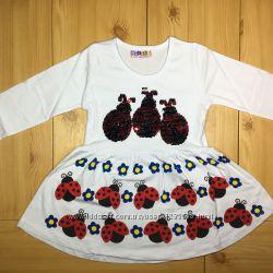 Платье для девочки Божьи Коровки рр. 80-122 2 цвета с паетками перевтышами