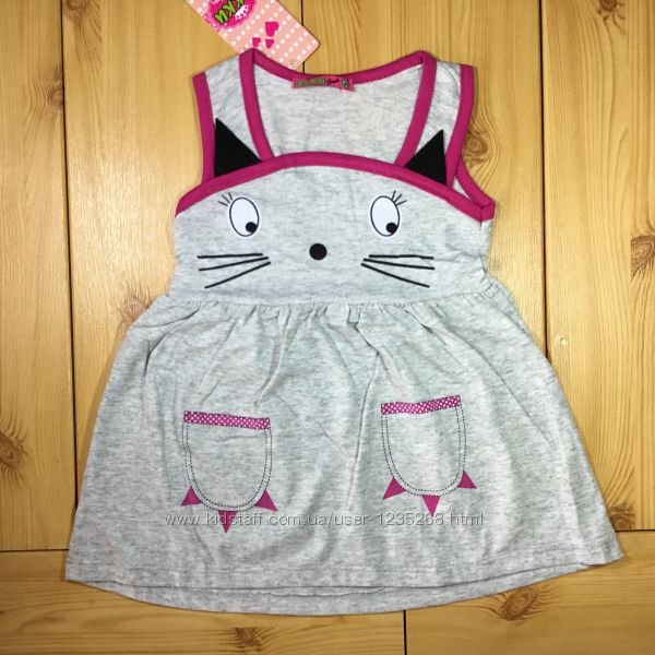 Детское платье-сарафан Кошка для девочки 3 цвета Beebaby Бибеби