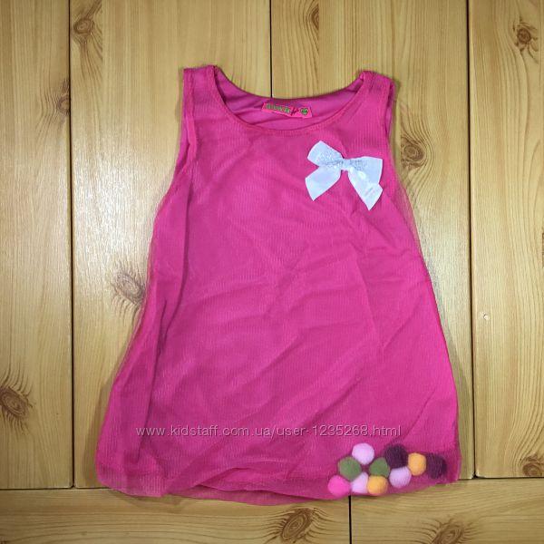 Детское платье-туника для девочки с помпонами Beebaby Бибеби