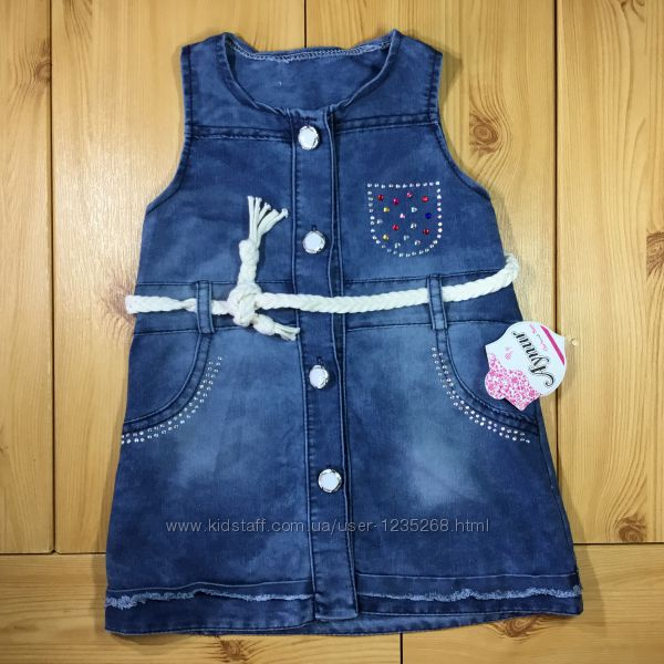 Детский джинсовое платье-сарафан рр. 92-110 Турция девочке Beebaby Бибебие