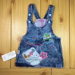 Джинсовый сарафан для девочки Мишка рр. 80-104 Beebaby Бибеби