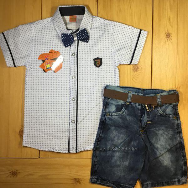 Стильный детский костюм рр. 110-128 для мальчика джинсовые шорты и рубашка