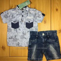 Стильный детский костюм рр. 80-104 для мальчика джинсовые шорты и рубашка B