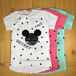Детская футболка рр. 128-152 Микки пайетки перевертыши Beebaby Бибеби