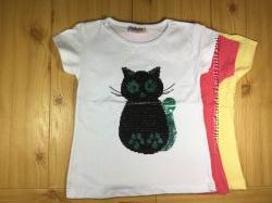 Детская футболка рр. 80-128 Кот пайетки перевертыши Beebaby Бибеби