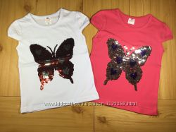 Детская футболка Бабочка рр. 80-128 пайетки перевертыши девочке Beebaby Би