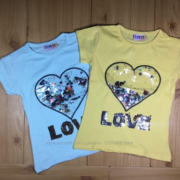 Детская футболка пайетки рр. 86-128 Сердце девочке Beebaby Бибеби
