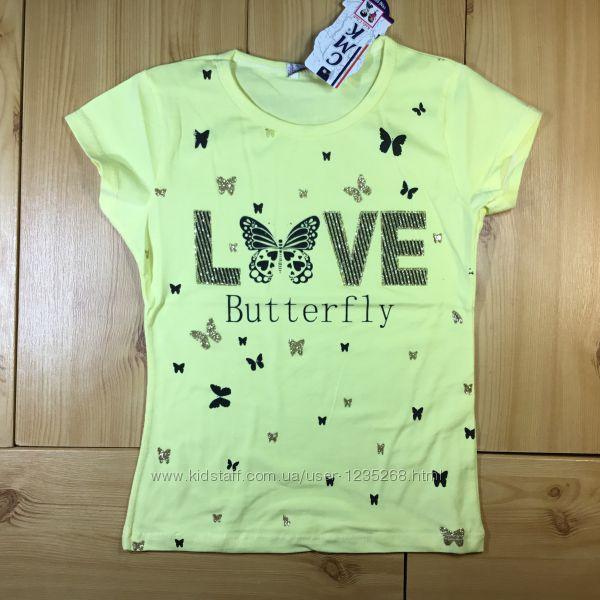 Футболка для девочки р. 110-140 Бабочка Beebaby Бибеби