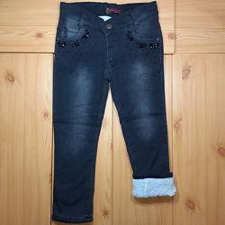 Детские теплые джинсы на травке для девочки рр. 110-128, 146 Beebaby Бибеби