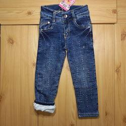 Зимние джинсы на травке для девочки рр. 98-152 Beebaby Бибеби