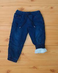 Детские теплые джинсы на травке махре для мальчика рр.62-116 Beebaby Биб