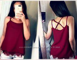Шелковая блуза Perfect с кружевом