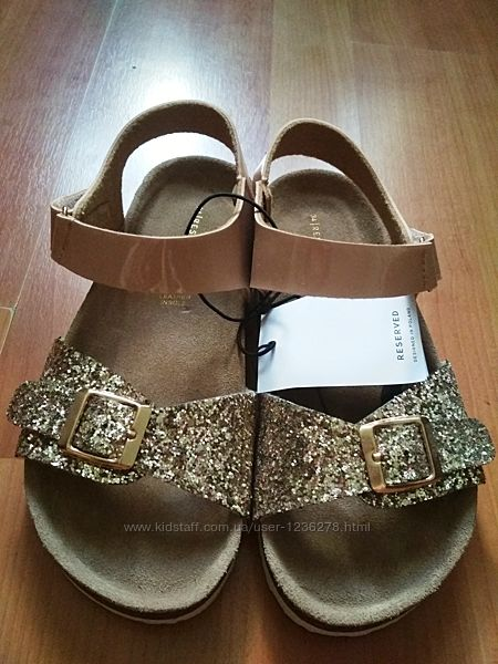 Босоножки сандалии reserved с блестками 34р, кожаная стелька