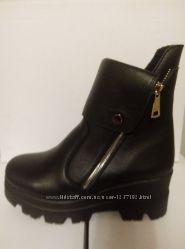 женские осенние  зимние ботинки из натуральной кожи и замша