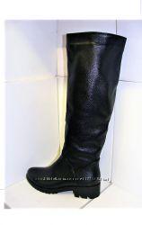 Женские кожаные модные зимние сапоги трубы низкий каблук