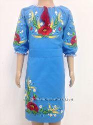 красивые фабричные платья-вышиванки  для девочек