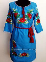 женские  красивые фабричные льняные платья вышиванки