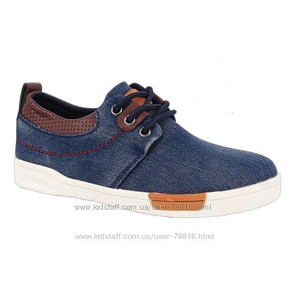 Джинсовые синие макасины на шнурках