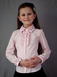 Школная розовая блузка 140-146р
