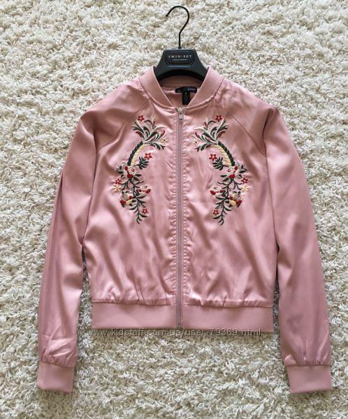 Бомбер куртка ветровка розовая с вышивкой AQUA Оригинал
