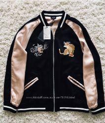 Бомбер двухсторонний Bardot с вышивкой Оригинал Куртка Ветровка Бежевая