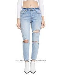 Джинсы голубые рваные pistola оригинал высокая талия мом mom jeans 26