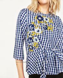 Блуза блузка в клетку белая Zara Оригинал стиль Dolce&Gabbana хлопок синяя
