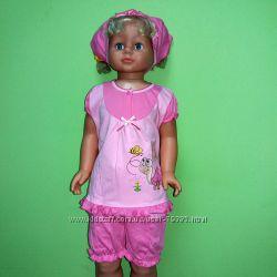 68-86  Комплект для девочки 696  Фламинго-текстиль