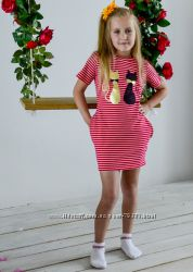 98-170  Платье для девочки Кошки красный ТМ Літо