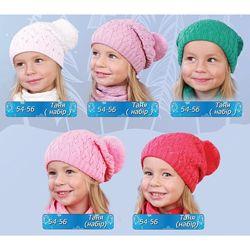 54-56  Комплект шапка и шарф для девочки  Таня