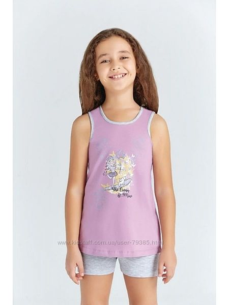 128,134  Пижама  для девочки летняя  мод.9218 Baykar