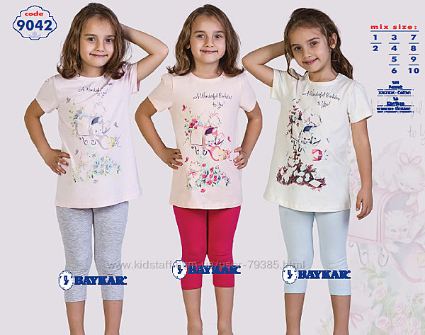 128-140  Пижама для девочки летняя  мод.9042 Baykar