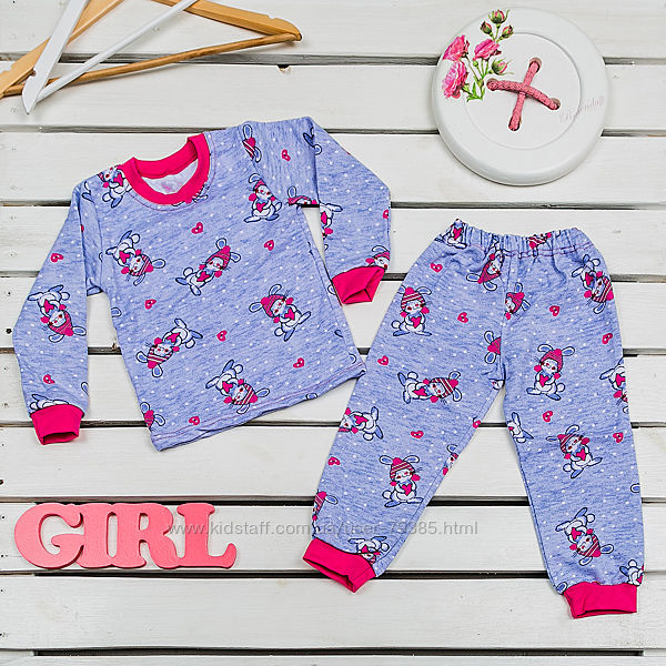 98р  Пижама теплая детская 329-312 байка Фламинго-текстиль