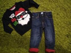 GAP джинсы на флисе и новогодний свитерок мальчику