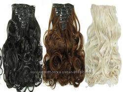 Трессы волосы на клипсах набор в ассортименте цвета на ленте