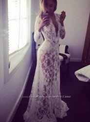 Пеньюар длинное кружевное платье для фотосессий беременных невесты черн бел