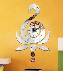 Часы настенные стикеры из зеркального акрила ноты лебедь арабские цифры
