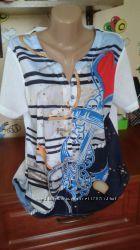 Летняя невесомая блуза-рубашка-морячка со стразами 52р, есть разные блузки