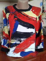 Topshop яркая блуза-кофта-футболка-реглан с трикотажной отделкой горловины