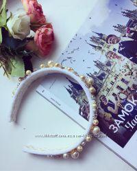 Светлый бархатный ободок в стиле Dolce&Gabbana