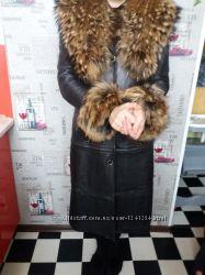 Куртка - пальто трансформер с натуральным шикарным мехом