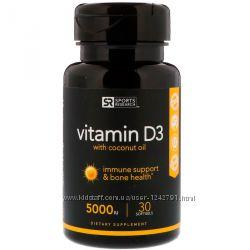 Витамин D3 5000 МЕ, 30 мягких таблеток Sports Research